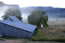 View of the Woolshed from 3 bed cabin
