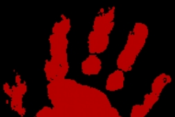 the Murder Master's bloody hand print