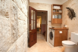 Bathrooms with sandstone feature walls