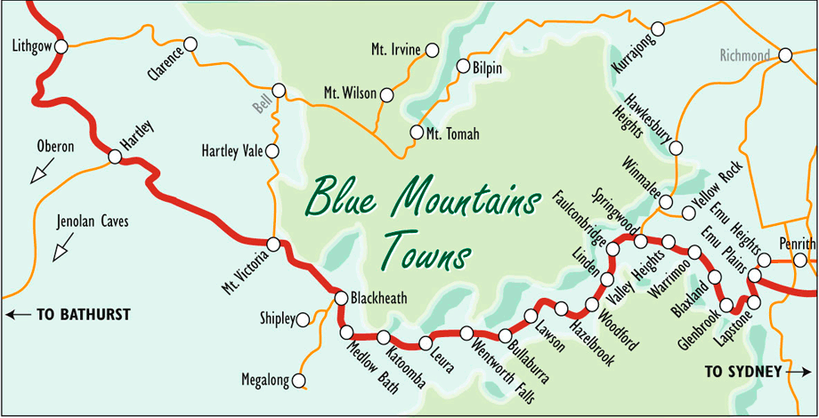 Blue Mountains Map Blue Mountains Australia