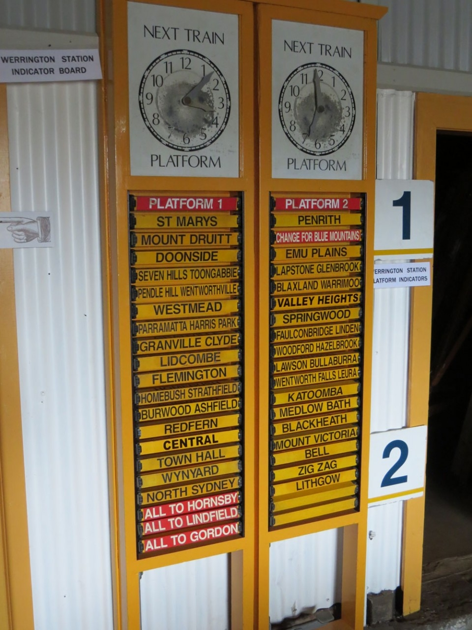 Indicator Board - Photo Courtesy of Valley Heights Locomotive Depot Heritage Museum