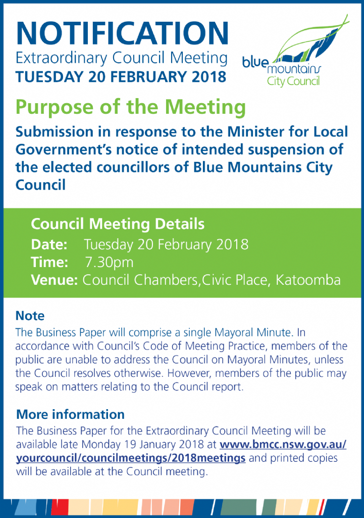 Notice of Extraordinary Council Meeting - 20 February 2018
