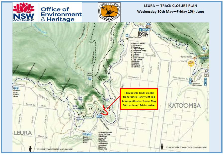 Blue Mountains National Park – Track Closure at Leura