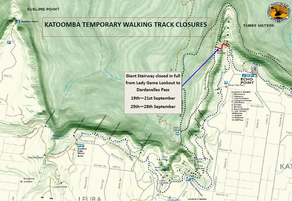 Blue Mountains National Park – Temporary Track Closure: Giant Stairway, Katoomba