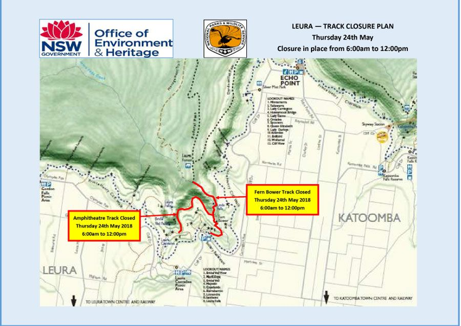 Blue Mountains National Park – Leura Temporary Track Closures for Helicopter Operation