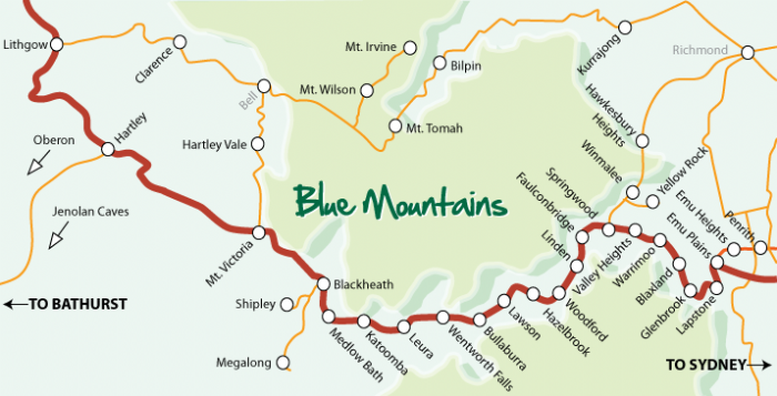 Three Sisters Blue Mountains Map Blue Mountains Region Location and Maps